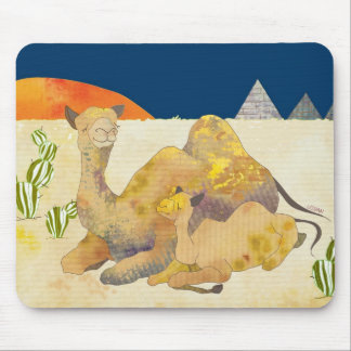 Mom and Baby Camel in Egypt Mouse Pad