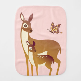 Mom and Baby Deer with Butterfly Burp Cloth