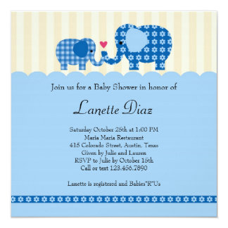 "Mom and Baby Elephant Baby Boy Shower Invitation 5.25"" Square Invitation Card"