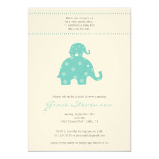 Mom and Baby Elephant Baby Boy Shower Invitation