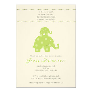 Mom and Baby Elephant Baby Shower Invitation