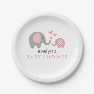 Mom and Baby Elephant Baby Shower Paper Plate Pink 7 Inch Paper Plate
