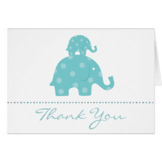 Mom and Baby Elephant Boy Folded Thank You Card