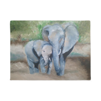 Mom and Baby Elephant Oil Painting Door Mat