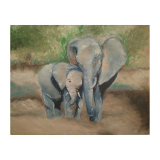 Mom and Baby Elephant Oil Painting Print Wood Art