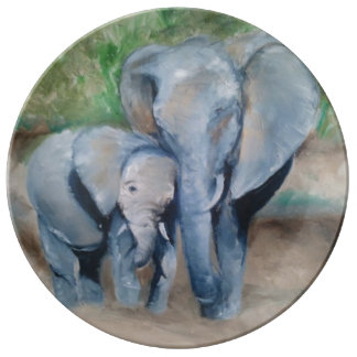 Mom and Baby Elephant Porcelain Plate