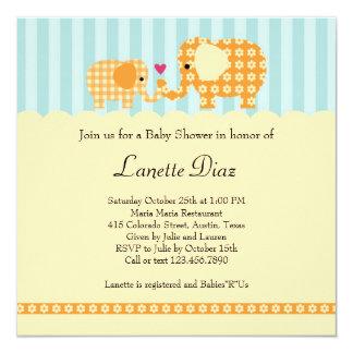 "Mom and Baby Elephant Unisex Baby Shower Invitatio 5.25"" Square Invitation Card"