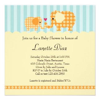 Mom and Baby Elephant Unisex Baby Shower Invitatio Custom Announcement