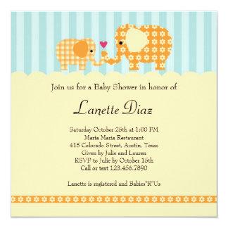 Mom and Baby Elephant Unisex Baby Shower Invitatio 5.25x5.25 Square Paper Invitation Card