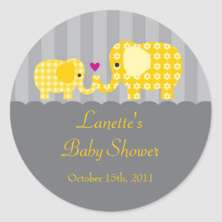 Mom and Baby Elephant Unisex Favor Sticker