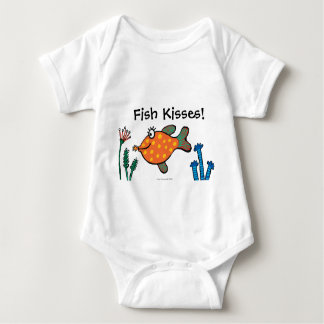 Mom and Baby Fish Kisses Baby Bodysuit