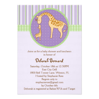 Mom and Baby Giraffe Baby Shower Invitation