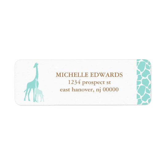 Mom and Baby Giraffe Return Address