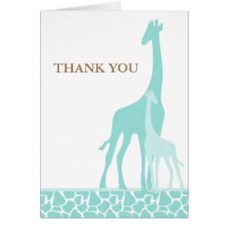 Mom and Baby Giraffe Thank You Cards