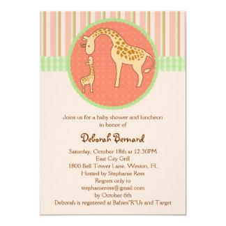 Mom and Baby Giraffe Unisex Baby Shower Invitation