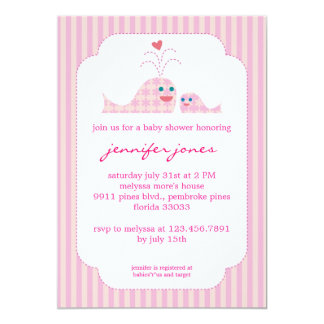 """Mom and Baby Girl Whale 5"""" X 7"""" Invitation Card"""