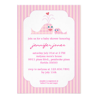 Mom and Baby Girl Whale Custom Invitations