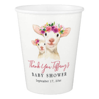 Mom And Baby Lamb Floral Thank You Baby Shower Paper Cup