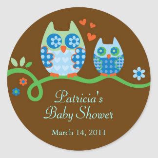 Mom and Baby Owl Baby Shower Favor Sticker