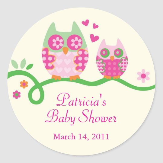 Mom and Baby Owl Baby Shower Favour Sticker