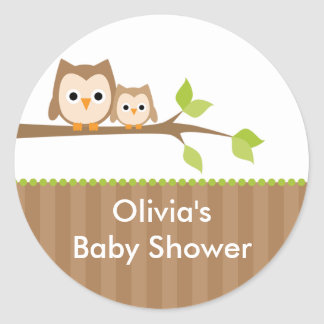 Mom and Baby Owl Baby Shower Stickers