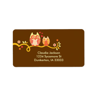 Mom and Baby Owl Custom Label