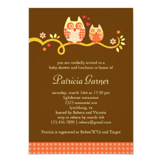 Mom and Baby Owl Unisex Baby Shower Invitation