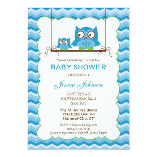 Mom and Baby Owls Boy Baby Shower Invitation