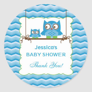 Mom and Baby Owls Boy Baby Shower Sticker