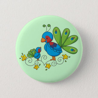Mom and Baby Peacock 2 Inch Round Button