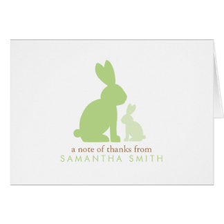 Mom and Baby Rabbits Green Baby Shower Thank You Card