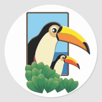 Mom and Baby Toucans Round Sticker