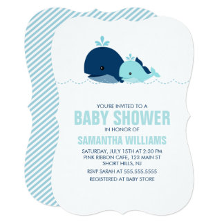 "Mom and Baby Whale Baby Shower {blue} 5"" X 7"" Invitation Card"