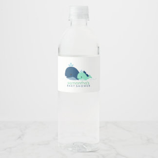 Mom and Baby Whales Baby Shower Water Bottle Label