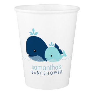 Mom and Blue Baby Whales Paper Cup