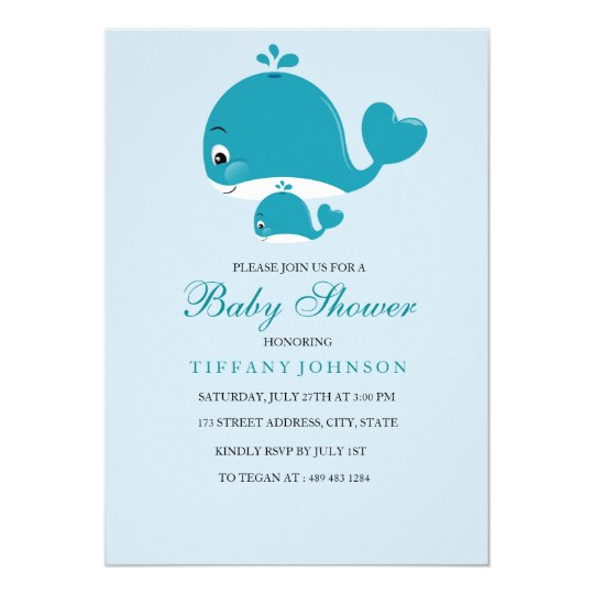 Mom and Bub baby Whale Baby boy shower invitation