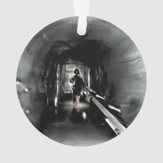 Mom and child inside an ice tunnel