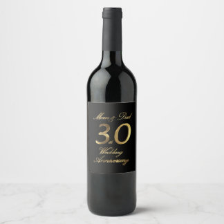 Mom and Dad Pearl Wedding Anniversary 30th Wine Label