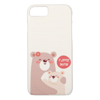 Mom and kid bears - I love Mom iPhone 8/7 Case