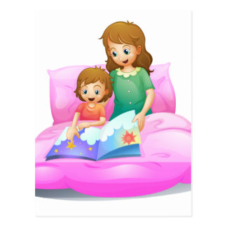 mom and kid postcard