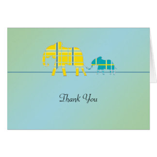 Mom and Me Blue Elephant Baby Shower Thank You Card