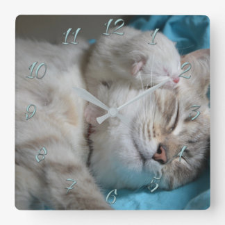 Mom and son kittens square wall clock
