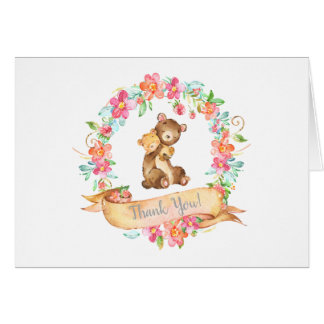 Mom Baby Bear Woodland Floral Wreath Thank You Card