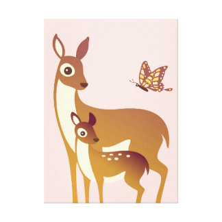 Mom, Baby Deer & Butterfly Stretched Canvas Print