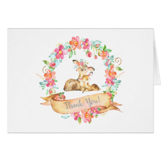 Mom Baby Deer Woodland Floral Wreath Thank You Card