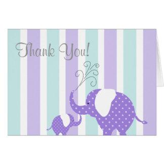 Mom & Baby Elephant Thank You Card- Aqua & Purple Card