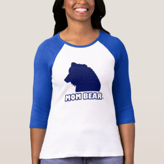 Mom Bear Blue-Patterned Mother's T-Shirt