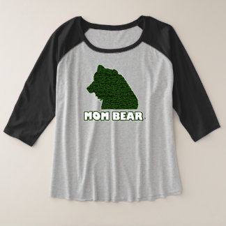 Mom Bear Green-Patterned Mother's T-Shirt