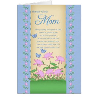 mom birthday card flowers and butterflies