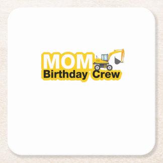 Mom Birthday Crew Construction Birthday Party Square Paper Coaster